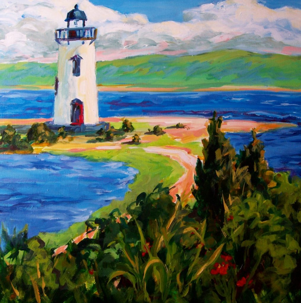 A painting of a coastal lighthouse on a peninsula with lots of foliage
