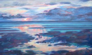 A painting of an ocean shore at sunset