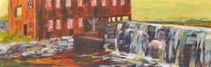 A painting of an old mill, river, and waterfall