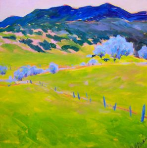 A painting of rolling hills, olive trees, and distant mountains