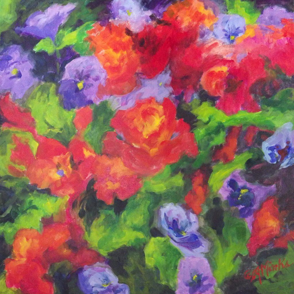 A painting of dense pansies and begonias blooming