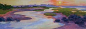 A painting of a creek flowing into the ocean at sunset
