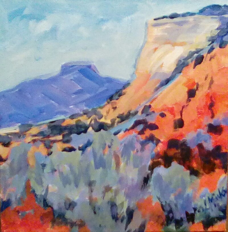 A painting of a rocky southwestern mountain