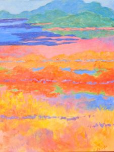 An abstract painting of a colorful pond
