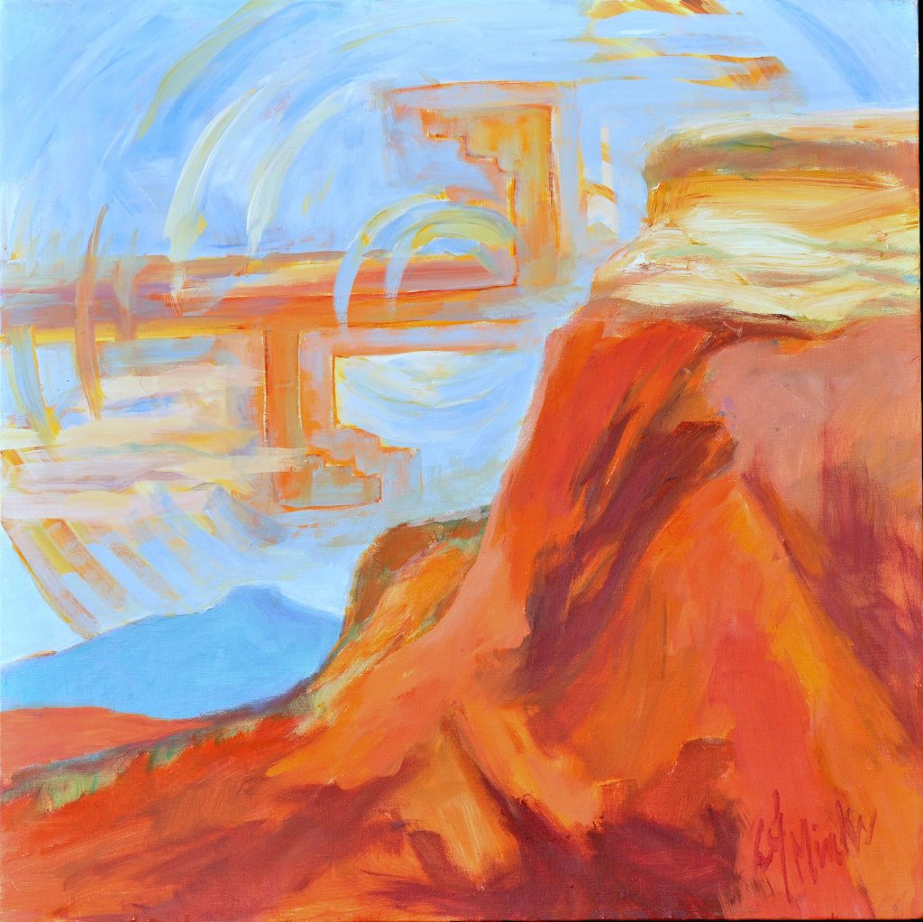 An abstract painting of a pottery plate and a mountain