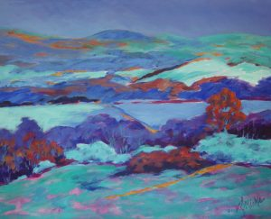 An abstract painting of trees and hills at dusk