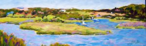 A painting of a marsh and boats in the spring