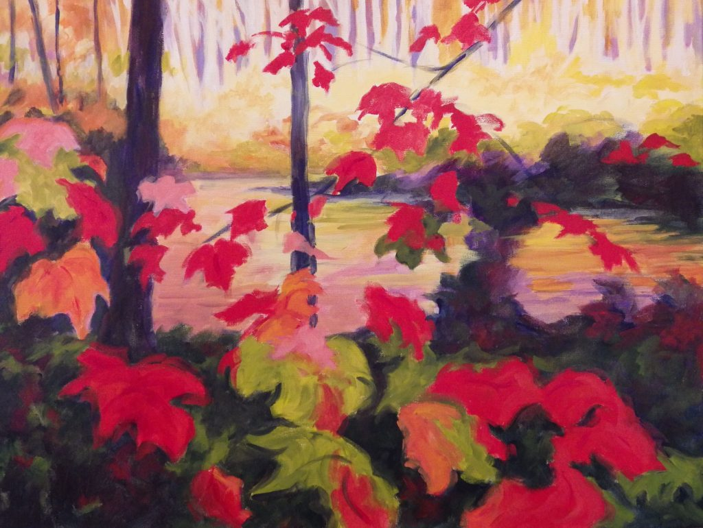 A painting of close up bright red leaves and a forest in the background