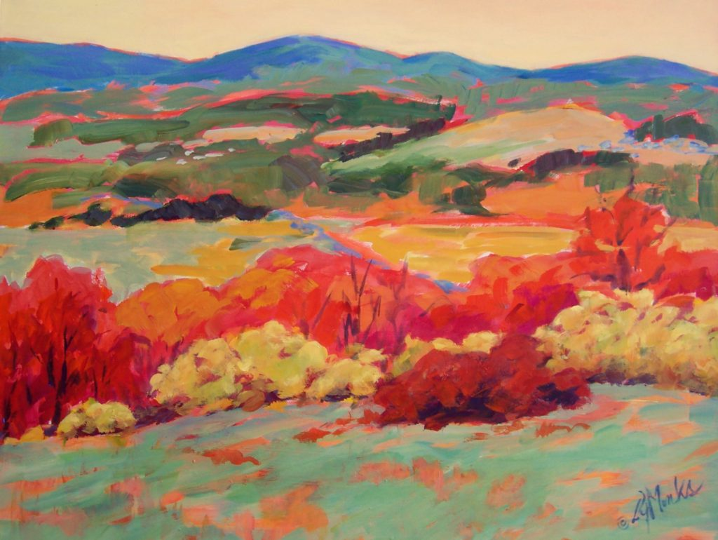 A painting of rolling hills and bright trees in the autumn