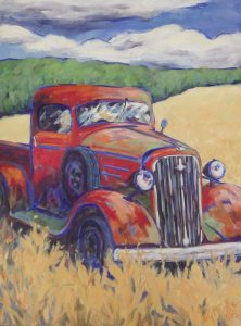 A painting of an old fashioned red truck in a field