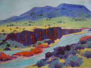 A painting of a river running through rocky cliffs