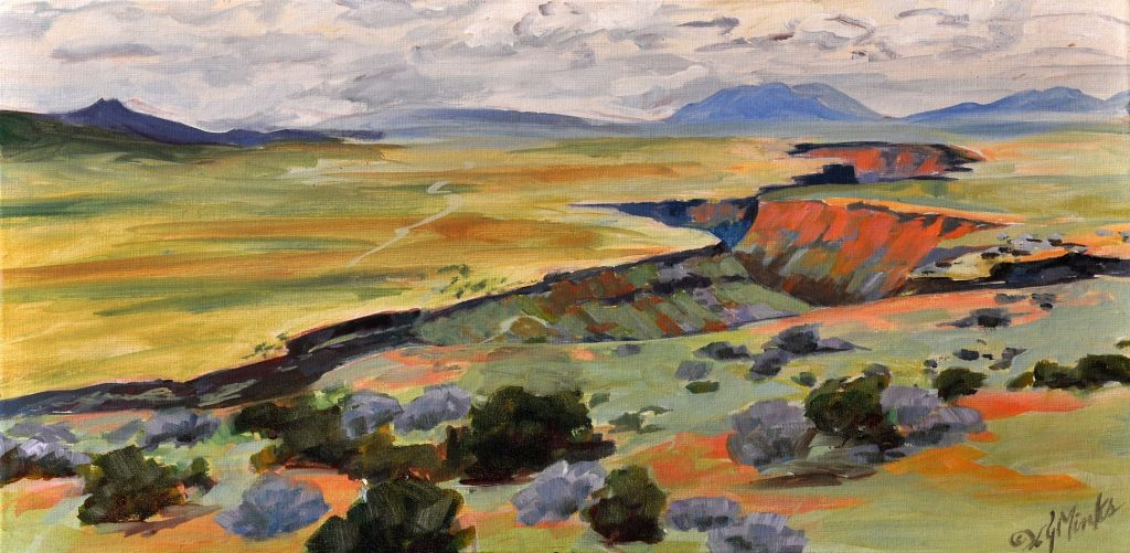 A painting of a huge gorge along a flat plain
