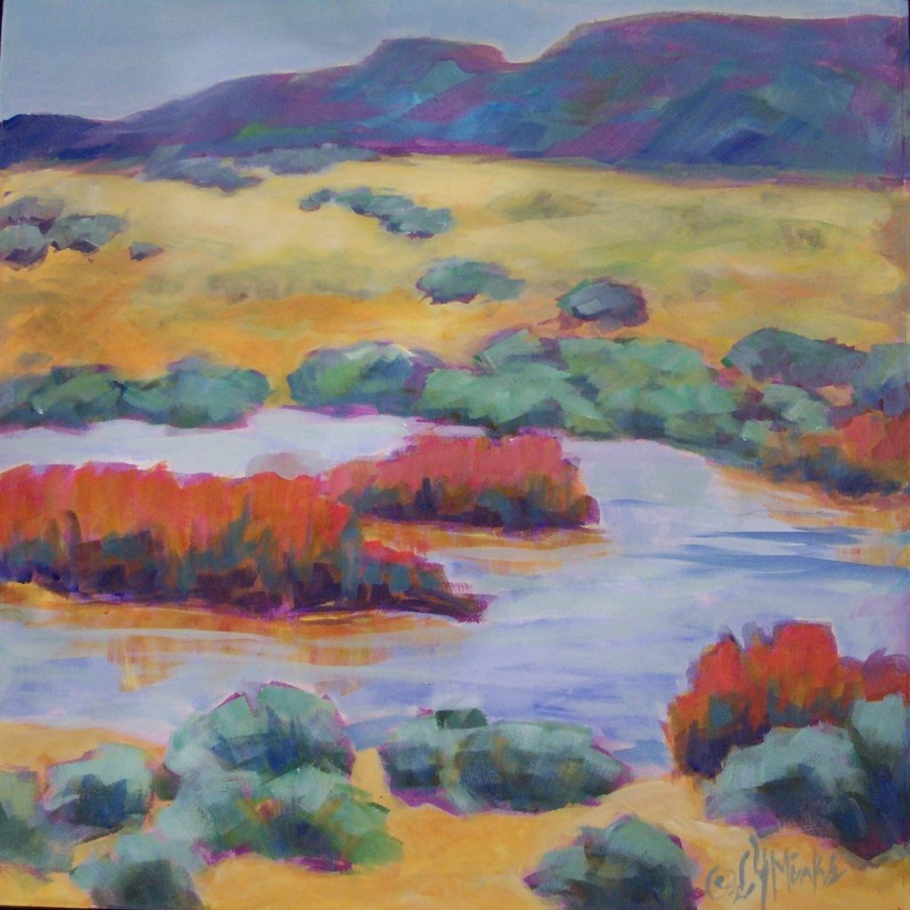 A painting of a river with scrubby vegetation