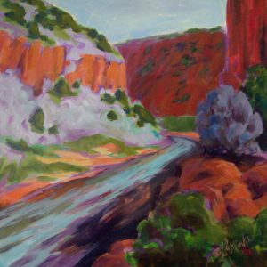 A painting of a river winding through rocky cliffs