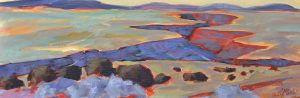 A painting of a huge gorge splitting a flat plain