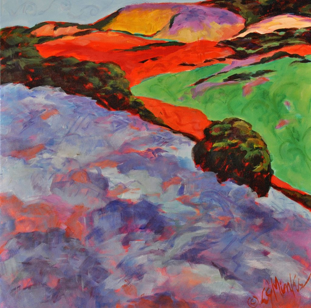 A painting of a colorful, hilly landscape