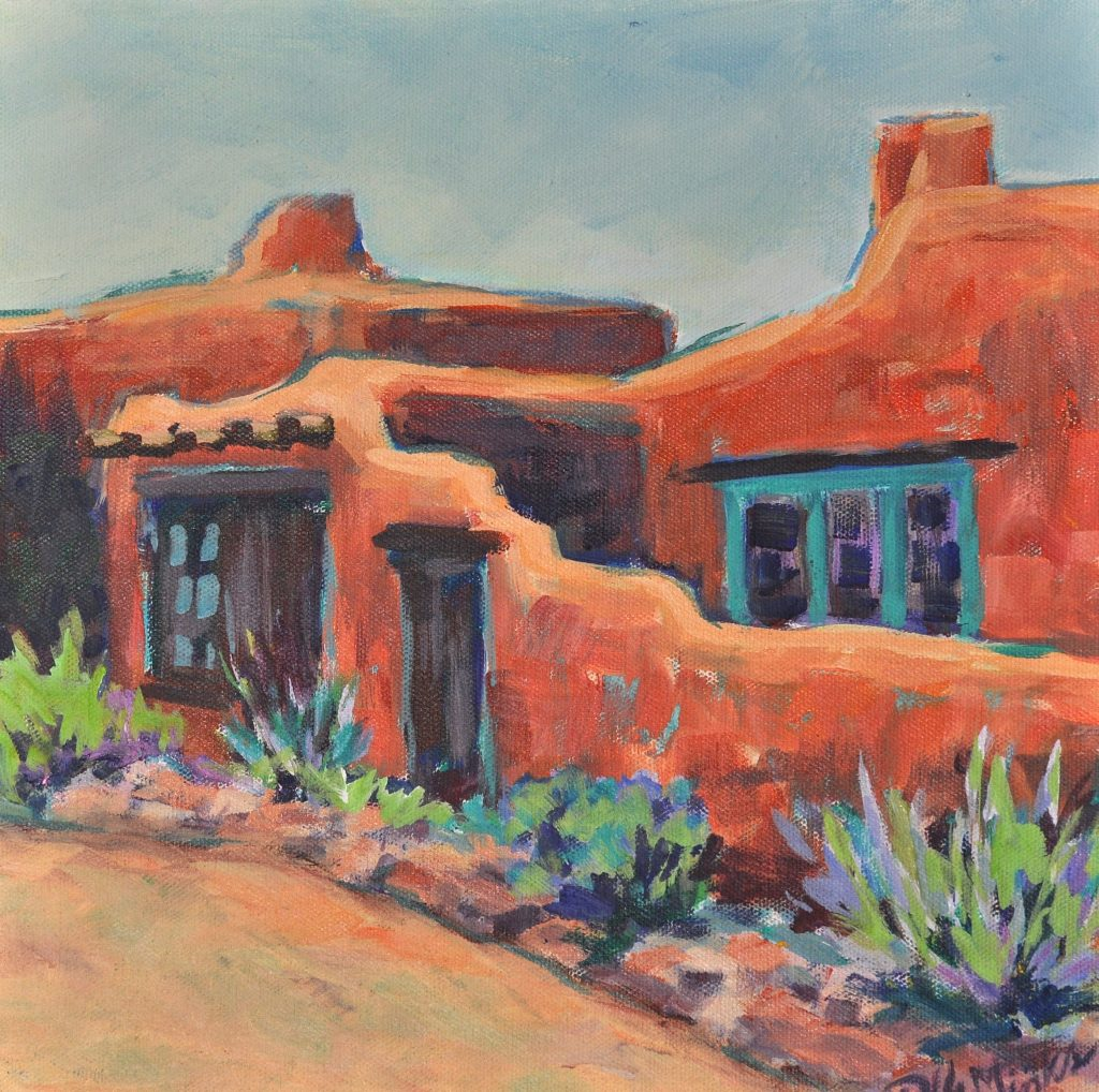 A painting of an adobe home