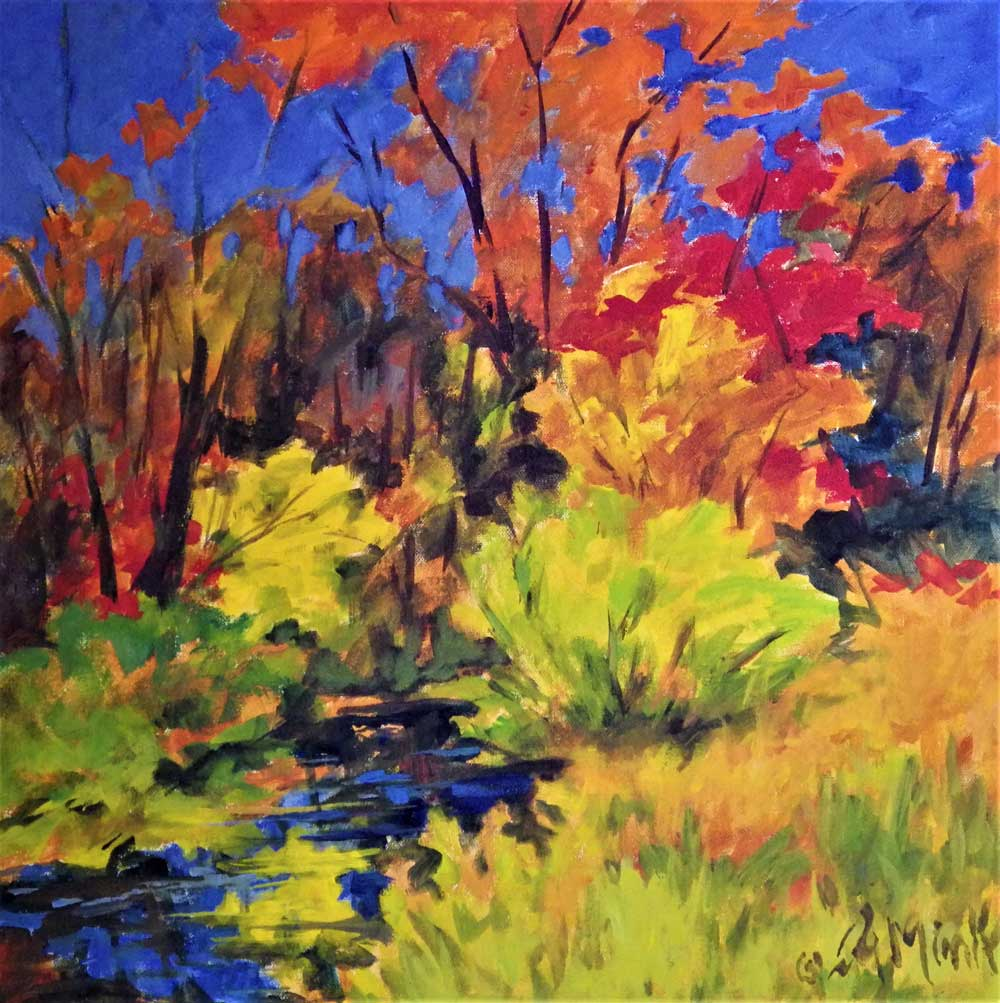 A painting of the Sawmill River in Montague, Massachusetts in the autumn