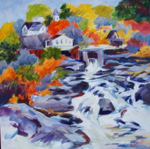 A painting of a rocky waterfall with homes in the background in the autumn
