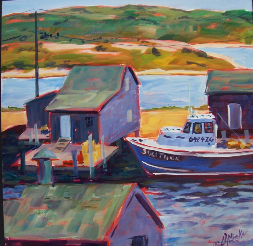 A painting of a small boat house and docked tugboat