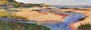 A painting of a lone person walking along a sandy creek