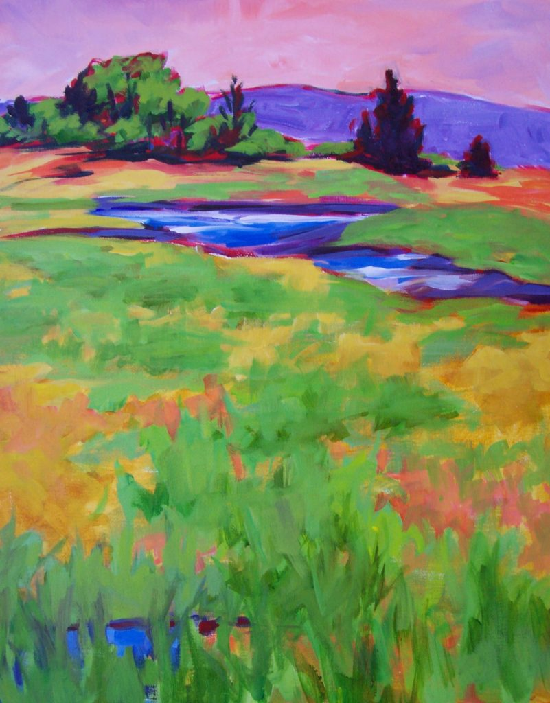 A painting of a colorful marsh in the spring