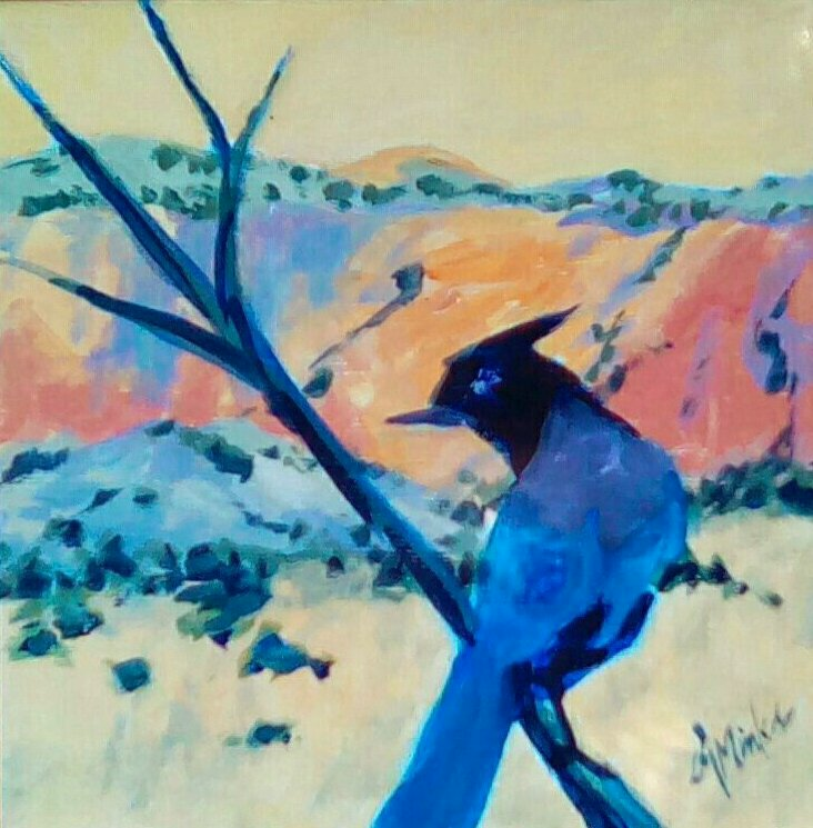 A painting of a black bird on a branch with southwestern mountains in the background