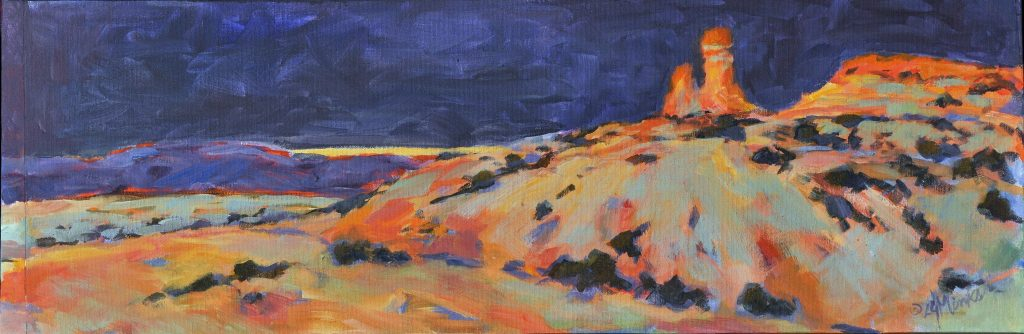 A painting of stormy skies and a southwestern landscape