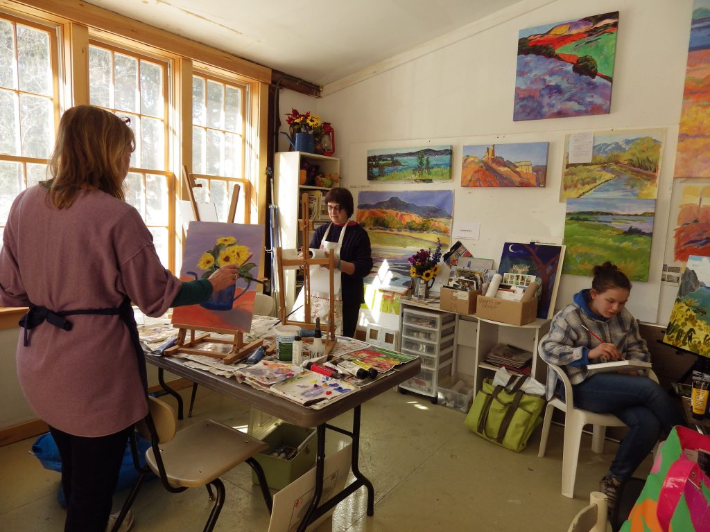 Students learning in Louise Minks' studio