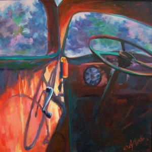 A painting of an old fashioned truck and sunbeams