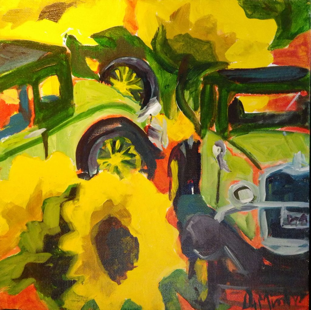 A painting of two green old fashioned cars with huge sunflowers