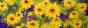 A painting of a close up of bright yellow sunflowers