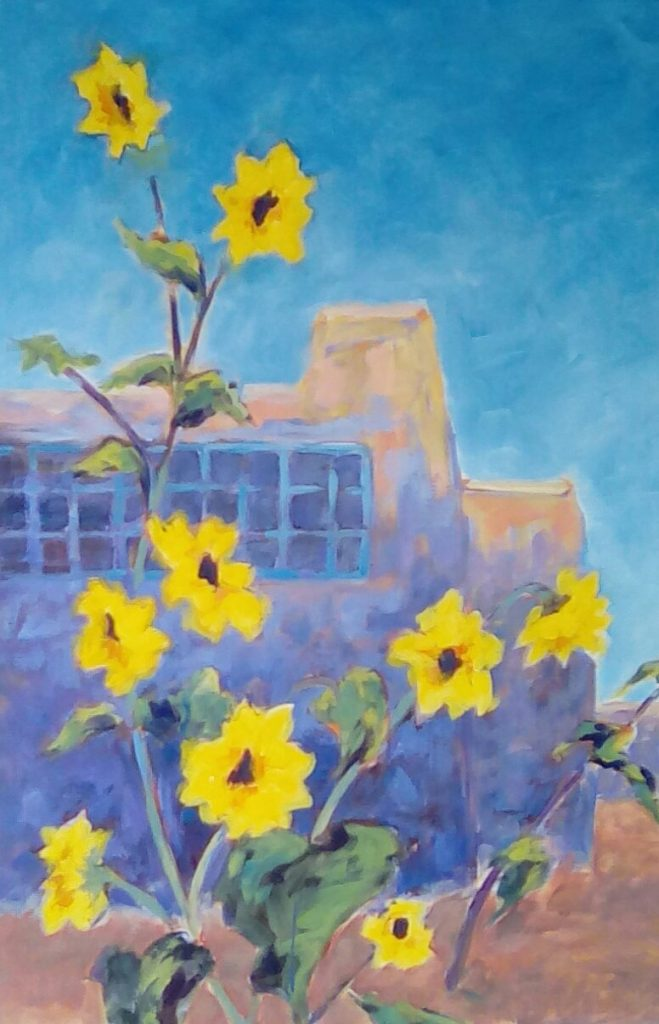A painting of sunflowers in front of a pueblo building