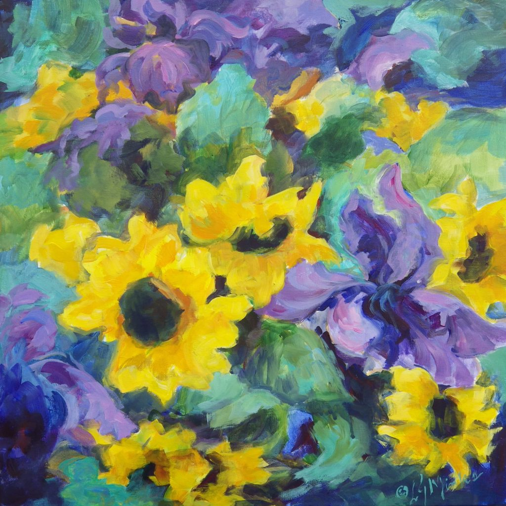 A painting of a bouquet of sunflowers and irises