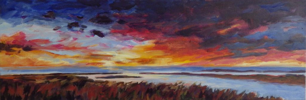 A painting of a marshy landscape at sunset