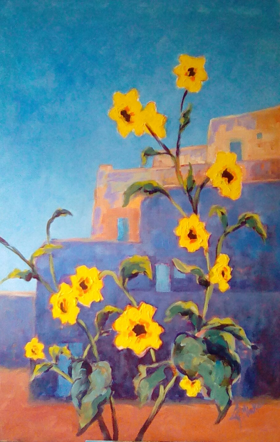 A painting of sunflowers in front of pueblo buildings