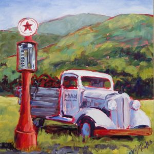 A painting of an old fashuioned white truck in a field