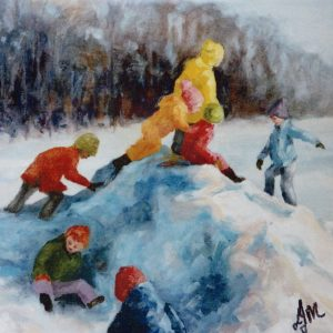 A painting of children in winter gear playing on a pile of snow