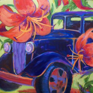 A painting of an old fashioned car with huge tiger lillies