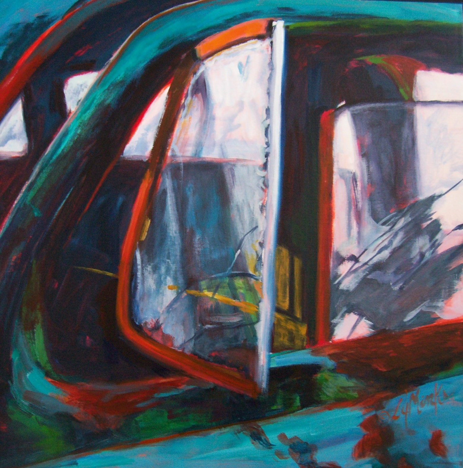 A painting of an open window in an old fashioned truck