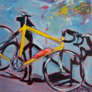 A painting of a sporty yellow bike resting against a wall