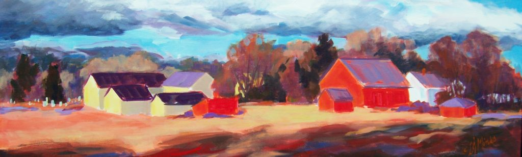 A painting of yellow and red barns in a field