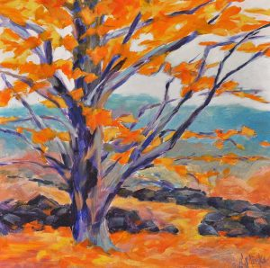 A painting of a tree with bright foliage in the autumn