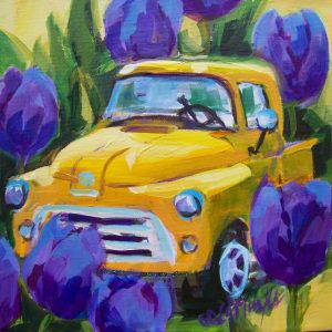 A painting of an old fashioned yellow truck with huge purple tuplis