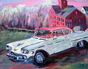 A painting of a white old fashioned car in front of an old mill