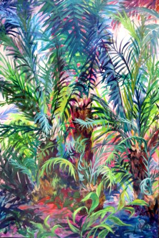 A close up of colorful palm fronds