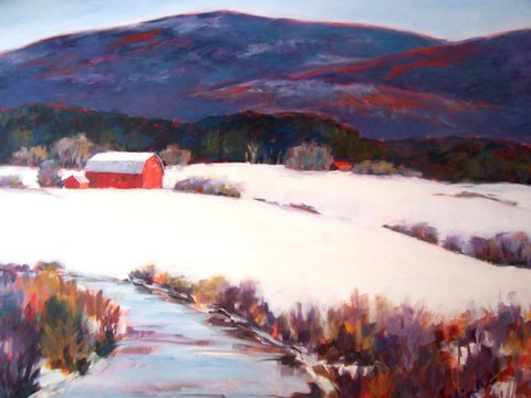 A painting of a red barn in a field in the winter with mountains rising in the background