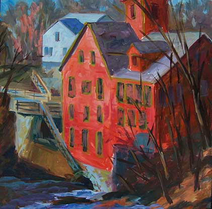 A painting of the old red mill building that house Sawmill River Arts in Montague, Massachusetts