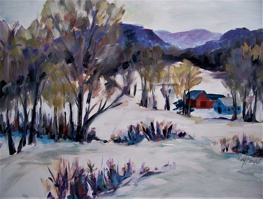 A painting of a rural Vermont landscape in winter