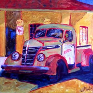 A painting of an old fashioned pick up truck at a gas station